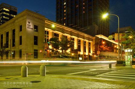 ライトアップされた神戸市立博物館